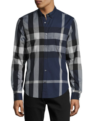 Exploded Check Button-Down Shirt, Ink