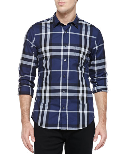 Burberry Brit Check Button-Down Shirt, Ink
