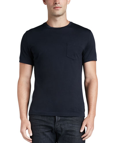 Pocket Crewneck Tee, Navy