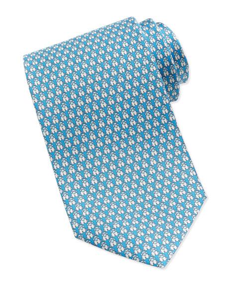 Lamb-Print Silk Tie, Aqua