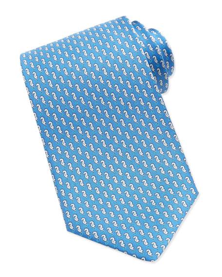 Sea Horse-Print Silk Tie, Light Blue