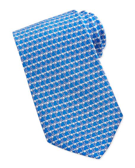 Golf-Print Silk Tie, Blue