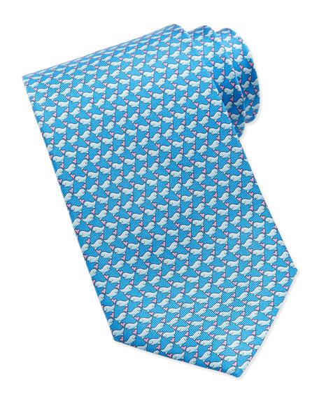 Whale-Print Silk Tie, Light Blue