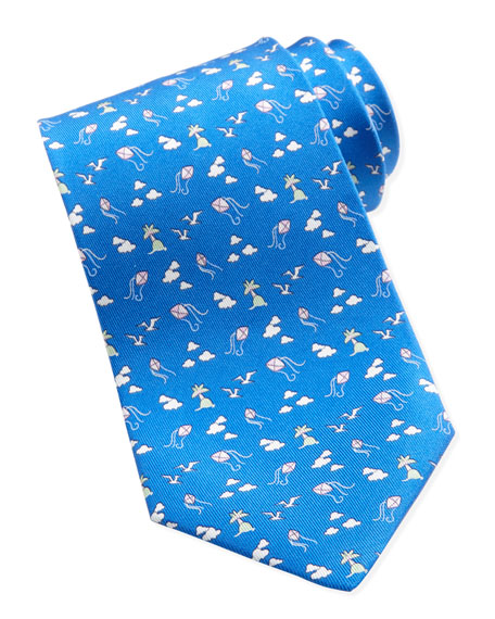 Kites & Clouds Silk Tie, Blue