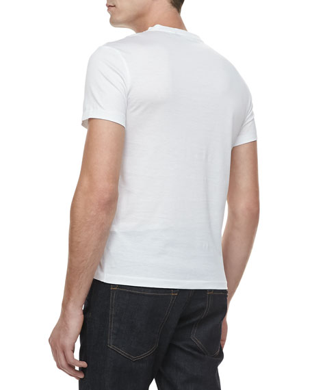 V-Neck Short-Sleeve Tee, White