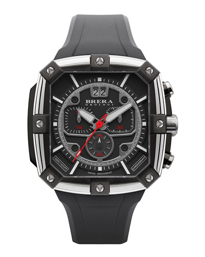 Brera 46mm Supersportivo Square Watch, Black