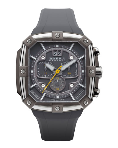 Brera 46mm Supersportivo Square Watch, Dark Gray