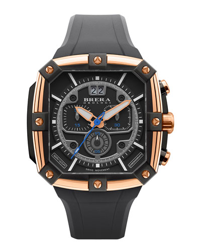 Brera 46mm Supersportivo Square Watch, Black/Rose Gold