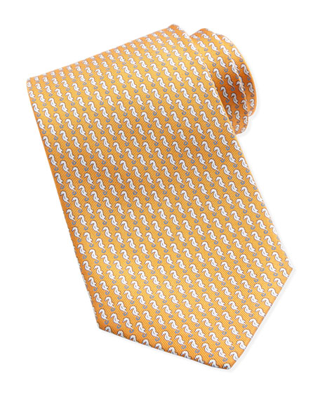Sea Horse-Print Silk Tie, Orange
