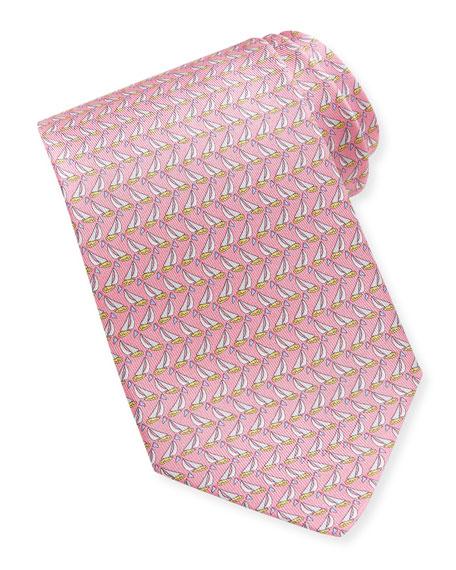 Sailboat-Print Silk Tie, Pink