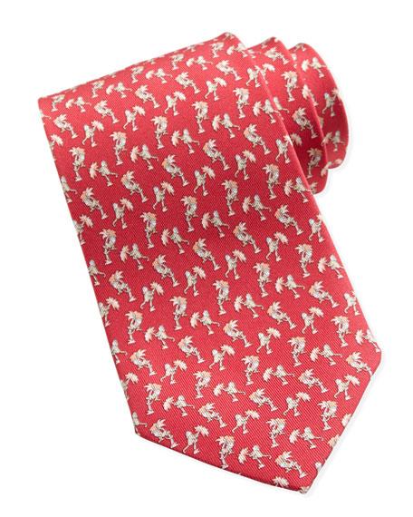 Monkey-Print Silk Tie, Red