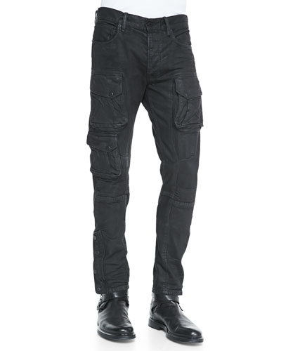 Courier Slim-Fit Cargo Jeans, Black