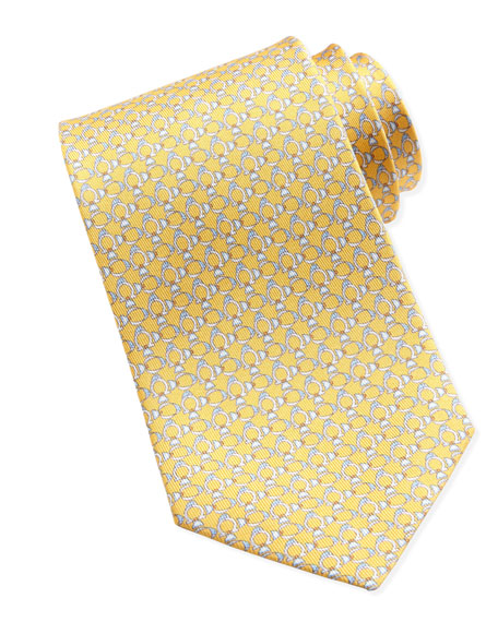 Gancini-Fish Silk Tie, Yellow