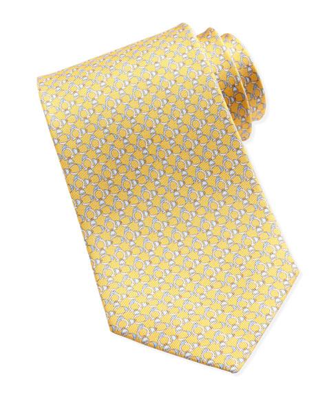 Gancini-Fish Silk Tie, Yellow
