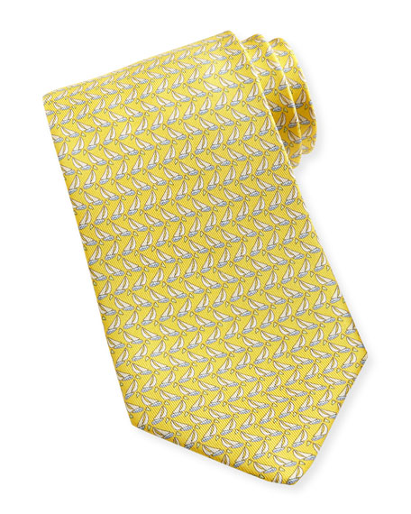 Sailboat-Print Silk Tie, Yellow