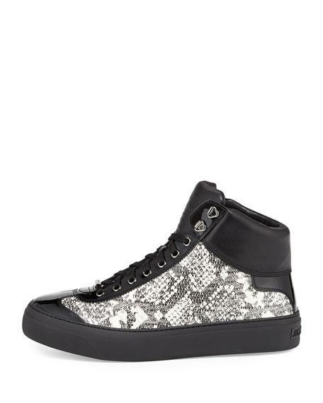Argyle Men's Snake-Embossed High-Top Sneaker, Black/White