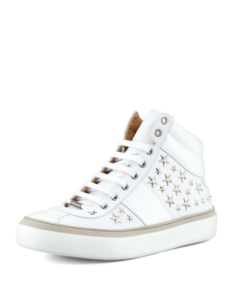 Belgravi Star-Studded Hi-Top Sneaker, White