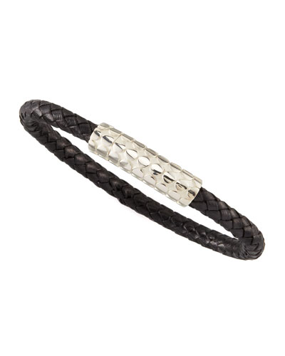 Dot Braided Leather Men's Bracelet, Black