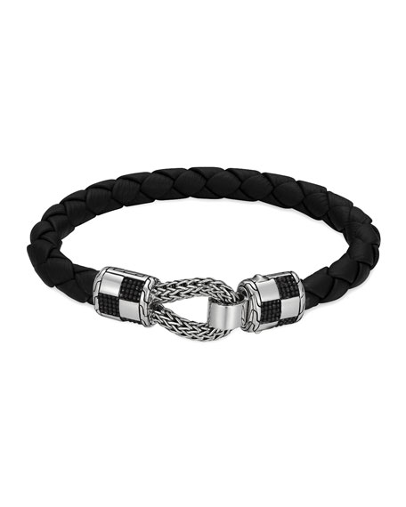 Men's Classic Chain Silver Station Bracelet on Black Leather Cord