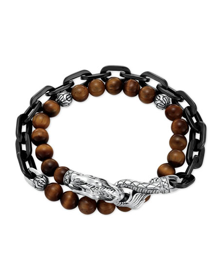John Hardy Naga Tiger's Eye Stainless Steel Double-Wrap