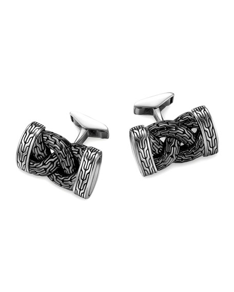 Classic Chain Silver & Black Braided Cuff Links