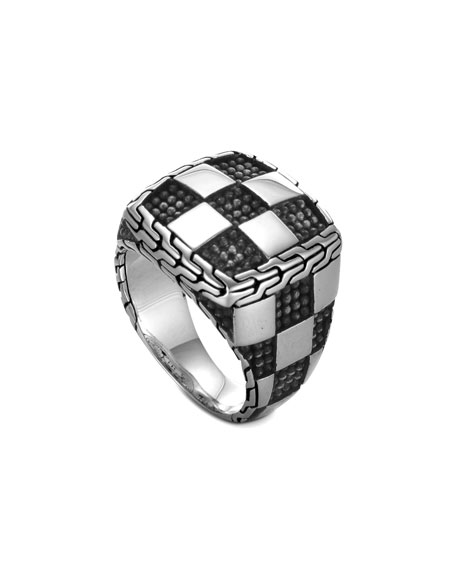 Men's Classic Chain Poleng Silver Square Ring, Size 10