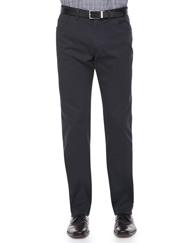 Five-Pocket Cotton-Stretch Trousers, Navy