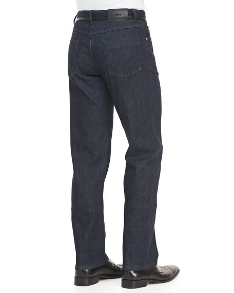 Denim Jeans with Leather Trim, Navy