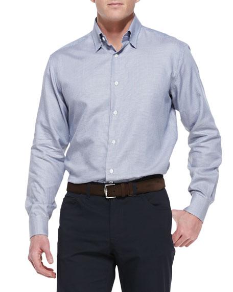 Brioni Mini-Houndstooth Cotton Shirt, Blue