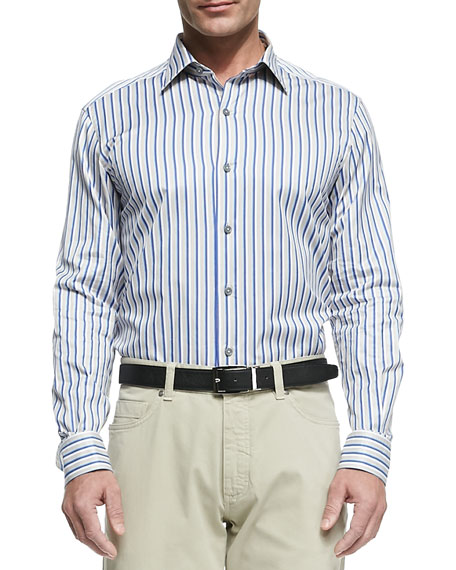 Multi-Stripe Button-Down Shirt, Blue