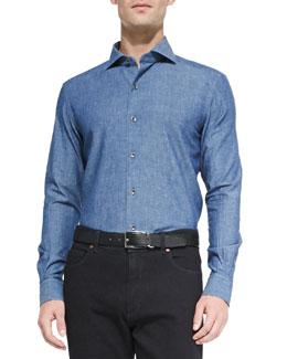 Woven Denim Shirt, Navy