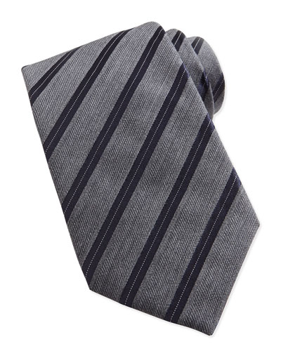 Heathered Twill Stripe Tie, Light Gray/Navy