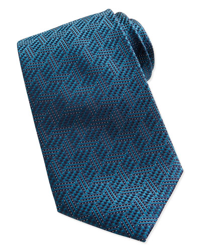 Textured Chevron Silk Tie, Teal