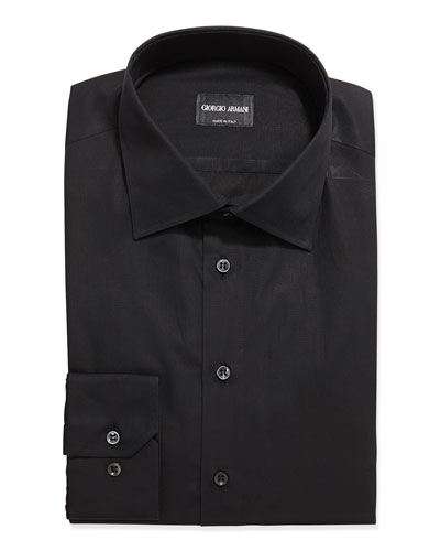 Solid Poplin Dress Shirt, Black