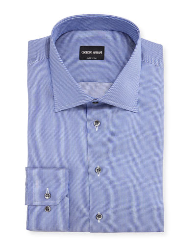 Micro-Grid Woven Dress Shirt, High Blue