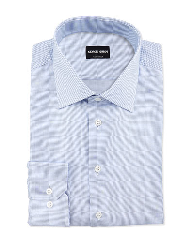 Textured Neat Dress Shirt, Blue/White