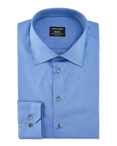 Basic Cotton Dress Shirt, French Blue