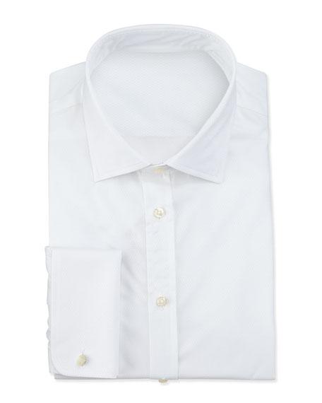 Giorgio Armani Textured French Cuff Dress Shirt White