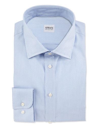 Tic Weave Dress Shirt, Blue