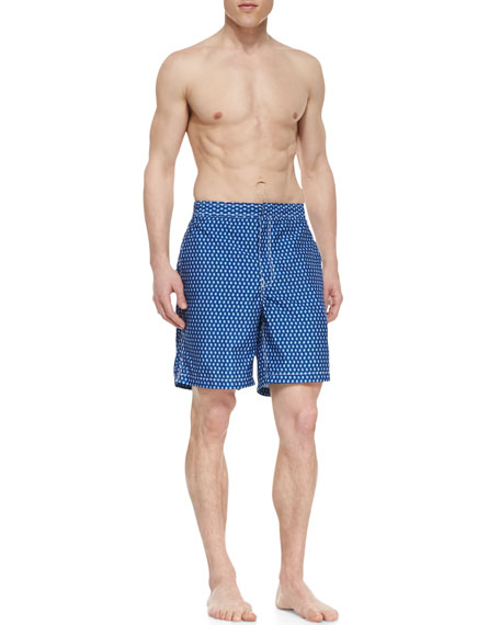 Pine-Print Swim Trunks, Navy