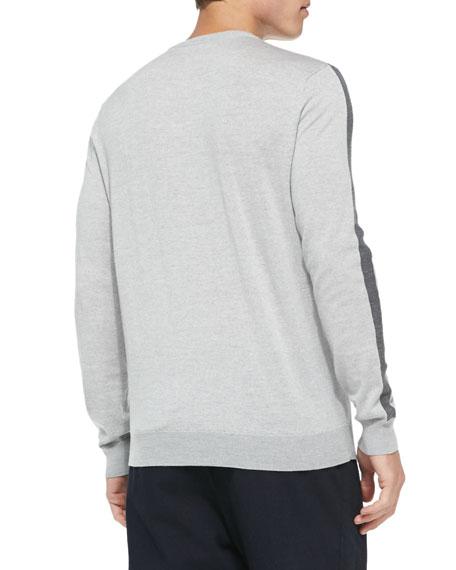V-Neck Colorblock Merino Sweater, Light Gray/Charcoal