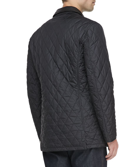 Diamond Quilt Barn Coat, Black