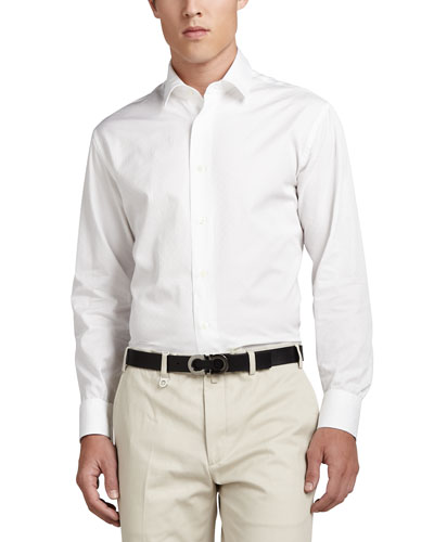 Woven Tonal Sport Shirt, White