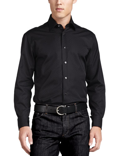 Woven Tonal Sport Shirt, Black