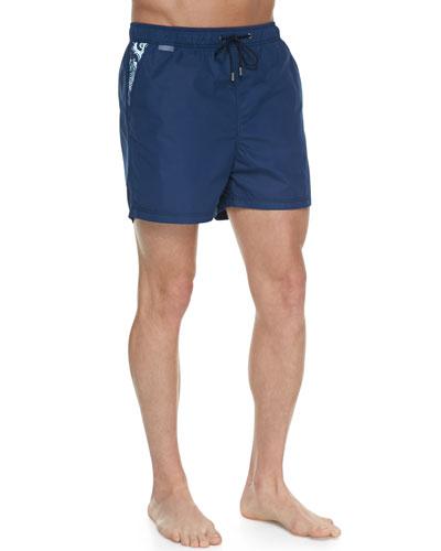 Paisley-Pocket Swim Trunks, Navy