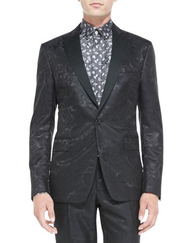 Paisley Jacquard Tuxedo Jacket, Black