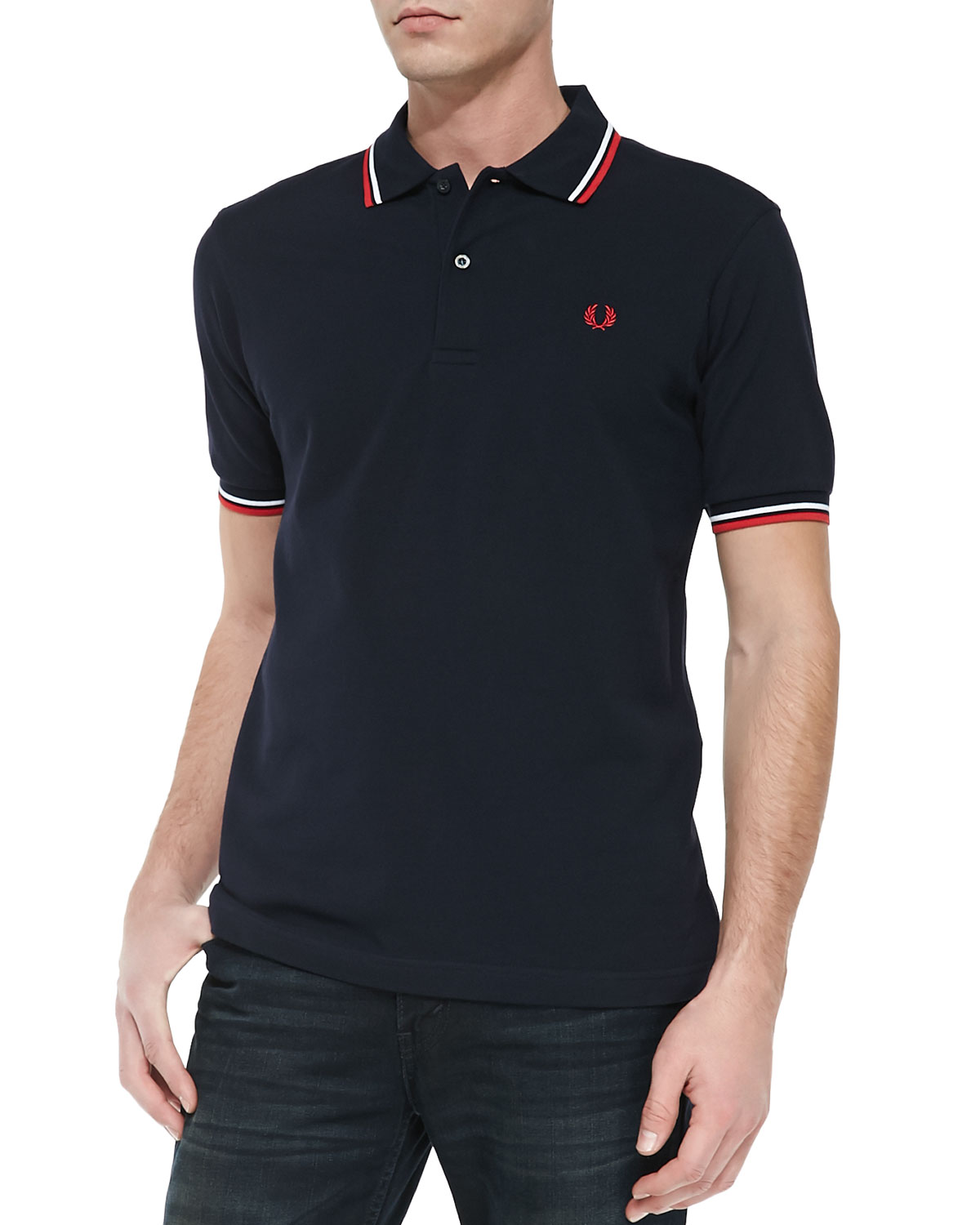 Fred Perry Twin Tipped Polo Shirt Navyredwhite Neiman Marcus