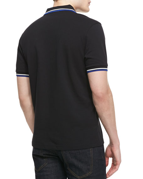 Tipped Polo Shirt, Black/Navy/White