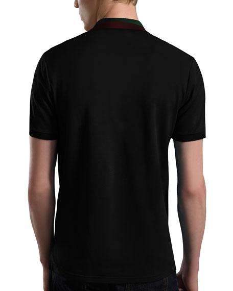 Pique-Knit Polo, Black