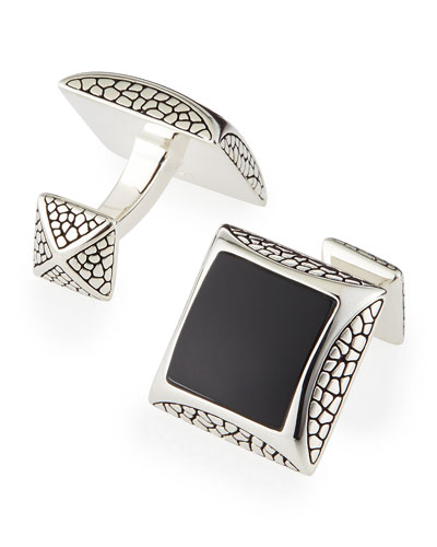 Stephen Webster Pebbled Silver Cuff Links with Onyx